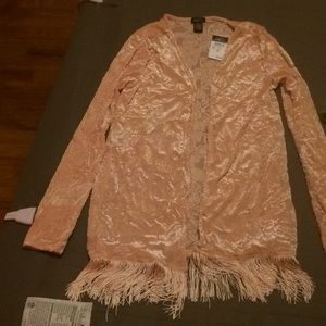 BNWT velour cardigan with tassels